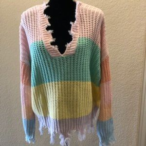MIRACLE Colorblock Distressed Ella Sweater